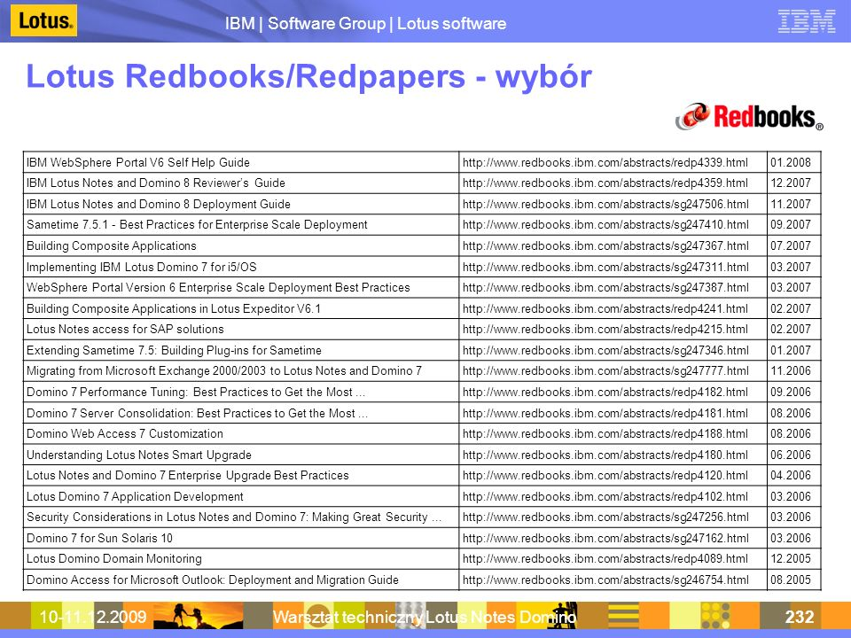 IBM | Software Group | Lotus software 10-11.12.2009Warsztat techniczny Lotus Notes Domino232 Lotus Redbooks/Redpapers - wybór IBM WebSphere Portal V6 Self Help Guidehttp://www.redbooks.ibm.com/abstracts/redp4339.html01.2008 IBM Lotus Notes and Domino 8 Reviewers Guidehttp://www.redbooks.ibm.com/abstracts/redp4359.html12.2007 IBM Lotus Notes and Domino 8 Deployment Guidehttp://www.redbooks.ibm.com/abstracts/sg247506.html11.2007 Sametime 7.5.1 - Best Practices for Enterprise Scale Deploymenthttp://www.redbooks.ibm.com/abstracts/sg247410.html09.2007 Building Composite Applicationshttp://www.redbooks.ibm.com/abstracts/sg247367.html07.2007 Implementing IBM Lotus Domino 7 for i5/OShttp://www.redbooks.ibm.com/abstracts/sg247311.html03.2007 WebSphere Portal Version 6 Enterprise Scale Deployment Best Practiceshttp://www.redbooks.ibm.com/abstracts/sg247387.html03.2007 Building Composite Applications in Lotus Expeditor V6.1http://www.redbooks.ibm.com/abstracts/redp4241.html02.2007 Lotus Notes access for SAP solutionshttp://www.redbooks.ibm.com/abstracts/redp4215.html02.2007 Extending Sametime 7.5: Building Plug-ins for Sametimehttp://www.redbooks.ibm.com/abstracts/sg247346.html01.2007 Migrating from Microsoft Exchange 2000/2003 to Lotus Notes and Domino 7http://www.redbooks.ibm.com/abstracts/sg247777.html11.2006 Domino 7 Performance Tuning: Best Practices to Get the Most...http://www.redbooks.ibm.com/abstracts/redp4182.html09.2006 Domino 7 Server Consolidation: Best Practices to Get the Most...http://www.redbooks.ibm.com/abstracts/redp4181.html08.2006 Domino Web Access 7 Customizationhttp://www.redbooks.ibm.com/abstracts/redp4188.html08.2006 Understanding Lotus Notes Smart Upgradehttp://www.redbooks.ibm.com/abstracts/redp4180.html06.2006 Lotus Notes and Domino 7 Enterprise Upgrade Best Practiceshttp://www.redbooks.ibm.com/abstracts/redp4120.html04.2006 Lotus Domino 7 Application Developmenthttp://www.redbooks.ibm.com/abstracts/redp4102.html03.2006 Security Considerations in Lo