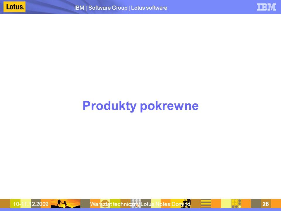 IBM | Software Group | Lotus software 10-11.12.2009Warsztat techniczny Lotus Notes Domino26 Produkty pokrewne
