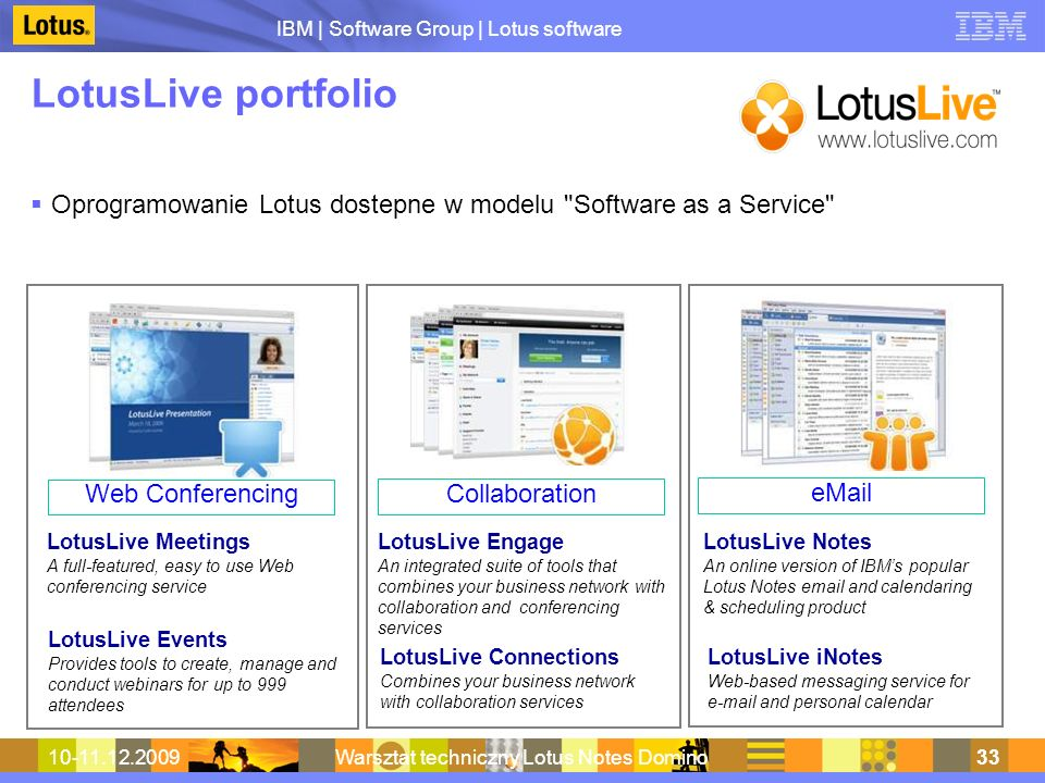 IBM | Software Group | Lotus software 10-11.12.2009Warsztat techniczny Lotus Notes Domino33 LotusLive portfolio Oprogramowanie Lotus dostepne w modelu Software as a Service LotusLive Meetings A full-featured, easy to use Web conferencing service LotusLive Events Provides tools to create, manage and conduct webinars for up to 999 attendees LotusLive Connections Combines your business network with collaboration services LotusLive Notes An online version of IBMs popular Lotus Notes email and calendaring & scheduling product LotusLive Engage An integrated suite of tools that combines your business network with collaboration and conferencing services LotusLive iNotes Web-based messaging service for e-mail and personal calendar Web Conferencing Collaboration eMail