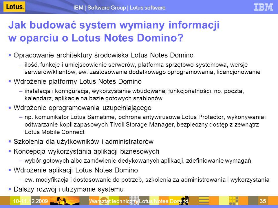 IBM | Software Group | Lotus software 10-11.12.2009Warsztat techniczny Lotus Notes Domino35 Jak budować system wymiany informacji w oparciu o Lotus No