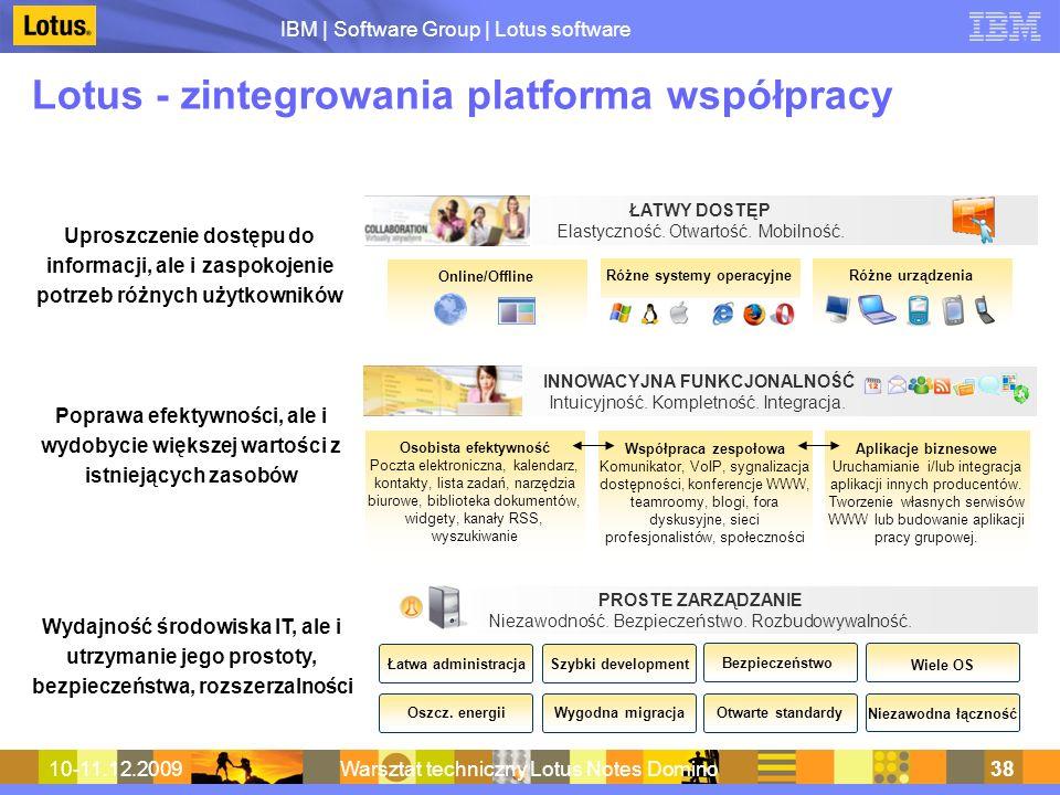 IBM | Software Group | Lotus software 10-11.12.2009Warsztat techniczny Lotus Notes Domino38 Lotus - zintegrowania platforma współpracy ŁATWY DOSTĘP El
