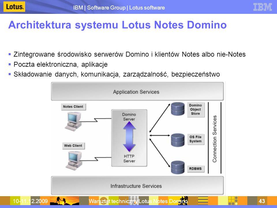 IBM | Software Group | Lotus software 10-11.12.2009Warsztat techniczny Lotus Notes Domino43 Architektura systemu Lotus Notes Domino Zintegrowane środo