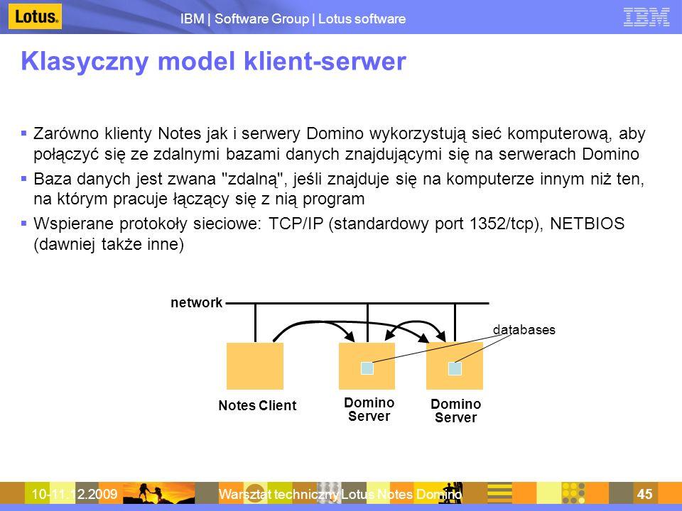 IBM | Software Group | Lotus software 10-11.12.2009Warsztat techniczny Lotus Notes Domino45 Klasyczny model klient-serwer Zarówno klienty Notes jak i
