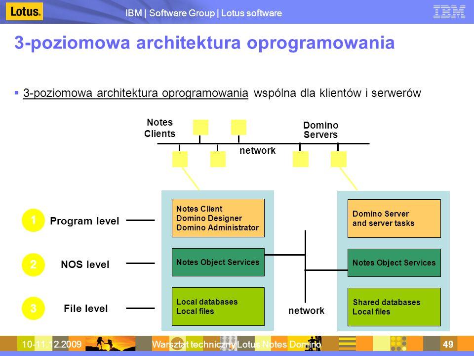 IBM | Software Group | Lotus software 10-11.12.2009Warsztat techniczny Lotus Notes Domino49 3-poziomowa architektura oprogramowania 3-poziomowa archit