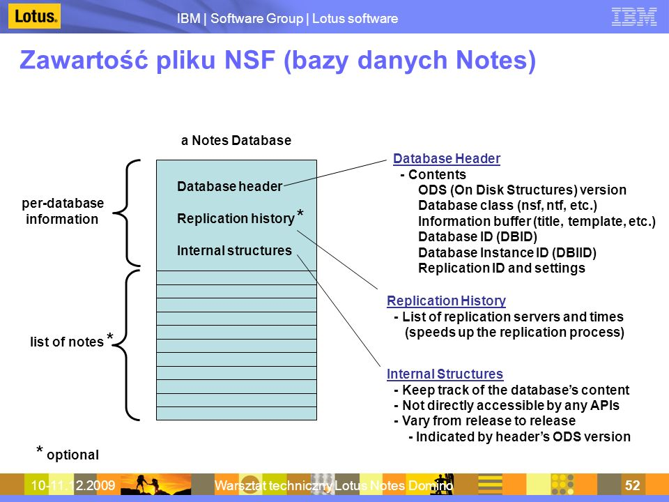 IBM | Software Group | Lotus software 10-11.12.2009Warsztat techniczny Lotus Notes Domino52 Zawartość pliku NSF (bazy danych Notes) Database header Replication history * Internal structures per-database information list of notes * * optional Database Header - Contents ODS (On Disk Structures) version Database class (nsf, ntf, etc.) Information buffer (title, template, etc.) Database ID (DBID) Database Instance ID (DBIID) Replication ID and settings a Notes Database Internal Structures - Keep track of the databases content - Not directly accessible by any APIs - Vary from release to release - Indicated by headers ODS version Replication History - List of replication servers and times (speeds up the replication process)