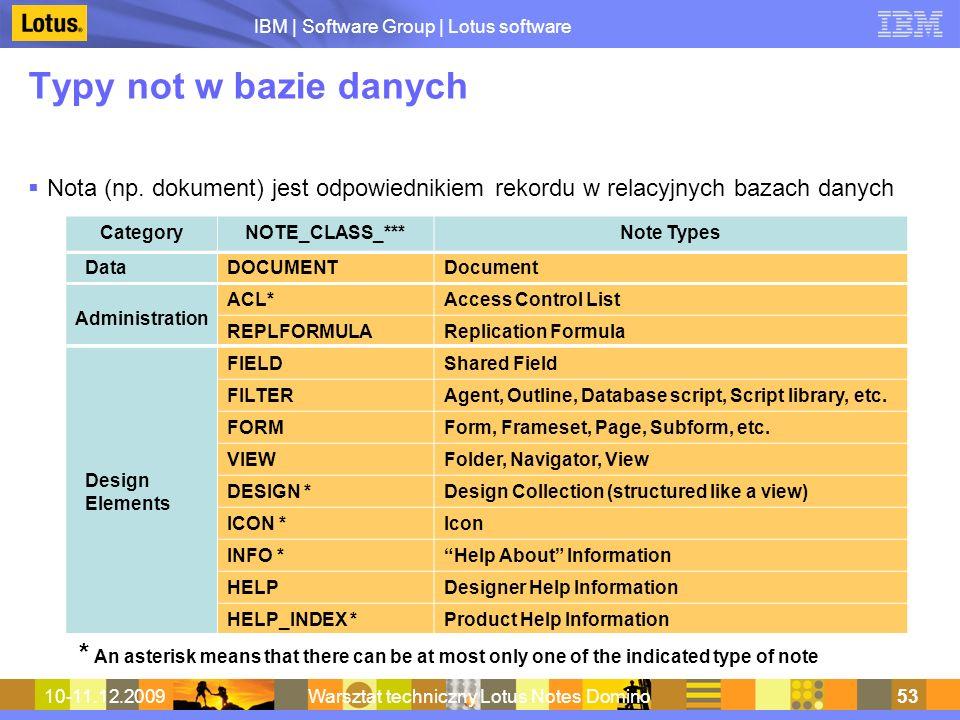 IBM | Software Group | Lotus software 10-11.12.2009Warsztat techniczny Lotus Notes Domino53 Typy not w bazie danych Nota (np. dokument) jest odpowiedn