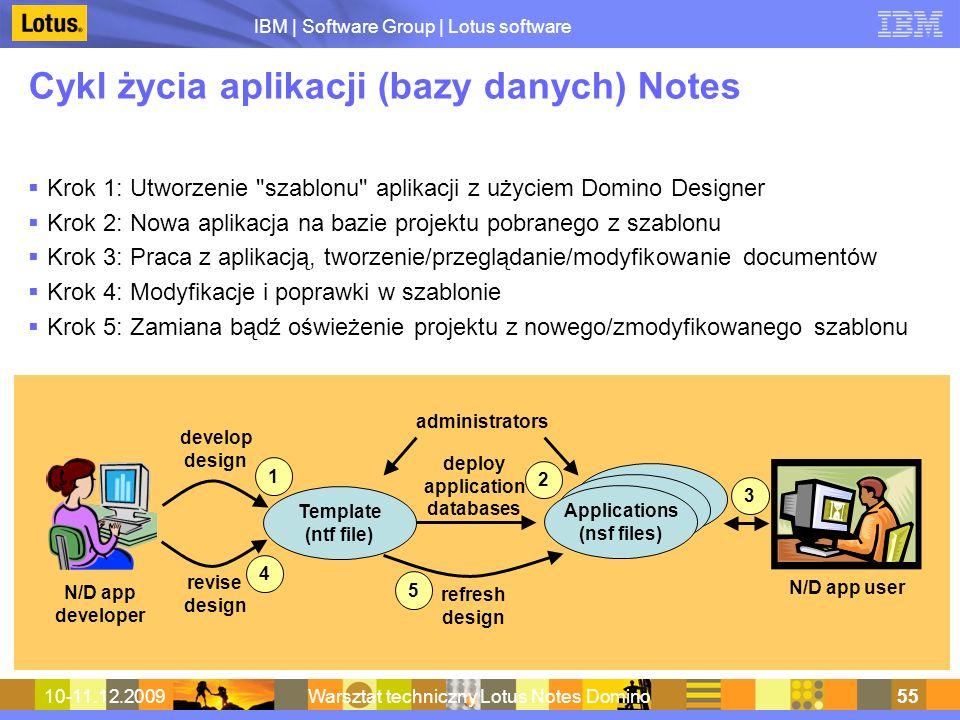 IBM | Software Group | Lotus software 10-11.12.2009Warsztat techniczny Lotus Notes Domino55 Cykl życia aplikacji (bazy danych) Notes Krok 1: Utworzeni