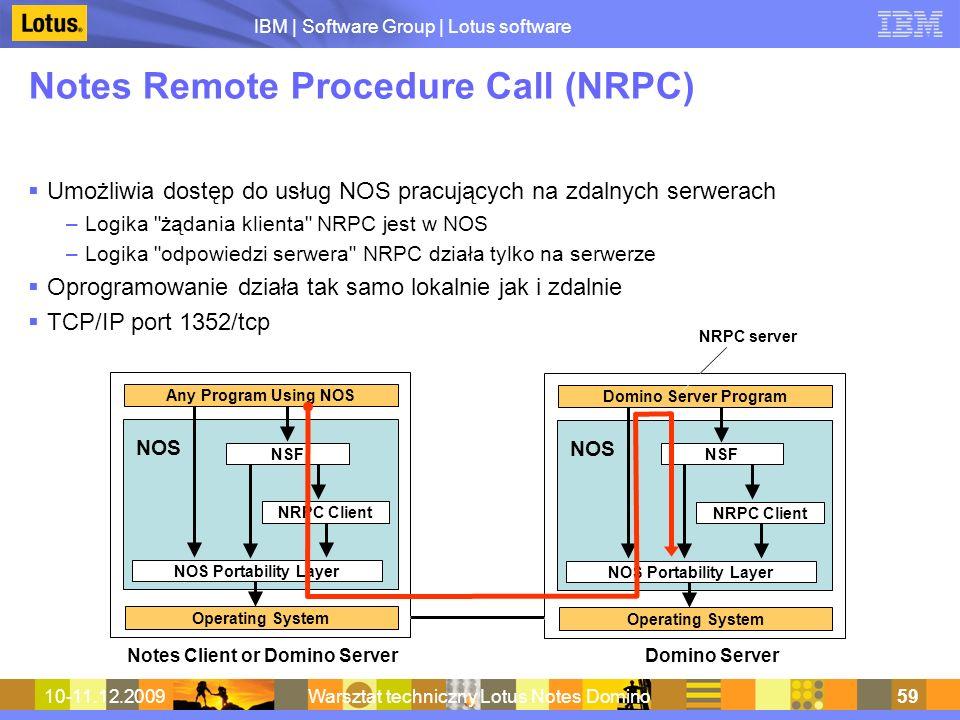 IBM | Software Group | Lotus software 10-11.12.2009Warsztat techniczny Lotus Notes Domino59 Notes Remote Procedure Call (NRPC) Umożliwia dostęp do usł
