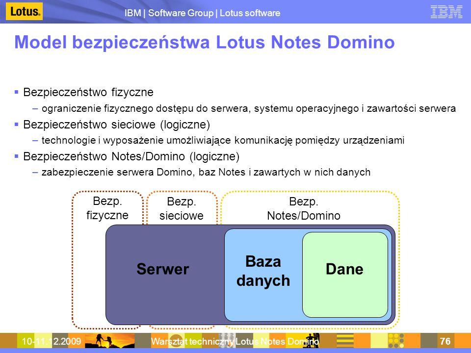 IBM | Software Group | Lotus software 10-11.12.2009Warsztat techniczny Lotus Notes Domino76 Model bezpieczeństwa Lotus Notes Domino Bezpieczeństwo fiz