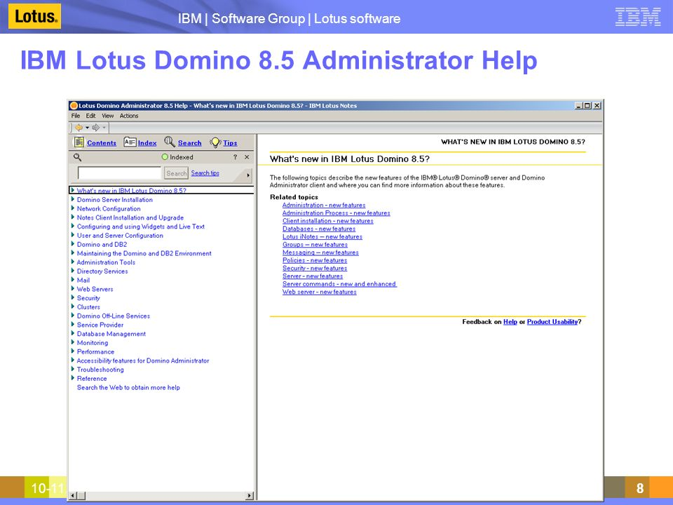 IBM | Software Group | Lotus software 10-11.12.2009Warsztat techniczny Lotus Notes Domino199 Enable and configure DAOS (2) Restart server –server console: command: restart server Check configuration –server console: command: show server DAOS: Enabled Convert all databases in mail subdirectory to ODS 51 and enable DAOS for them –server console: command: load compact mail -c -daos on -c is for copy style compact, which converts to new ODS