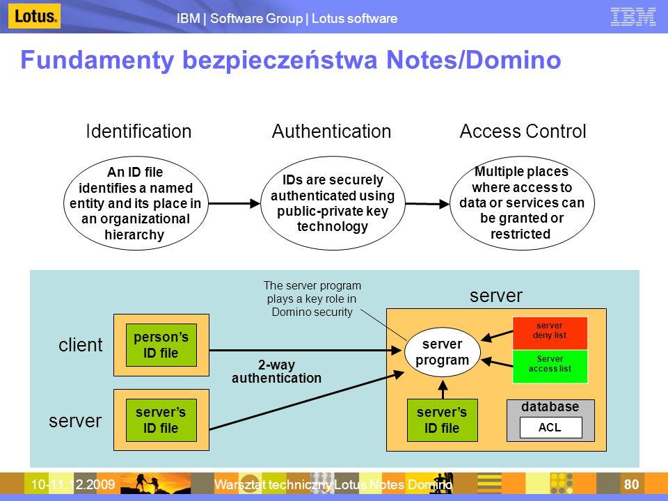 IBM | Software Group | Lotus software 10-11.12.2009Warsztat techniczny Lotus Notes Domino80 Fundamenty bezpieczeństwa Notes/Domino IdentificationAuthe
