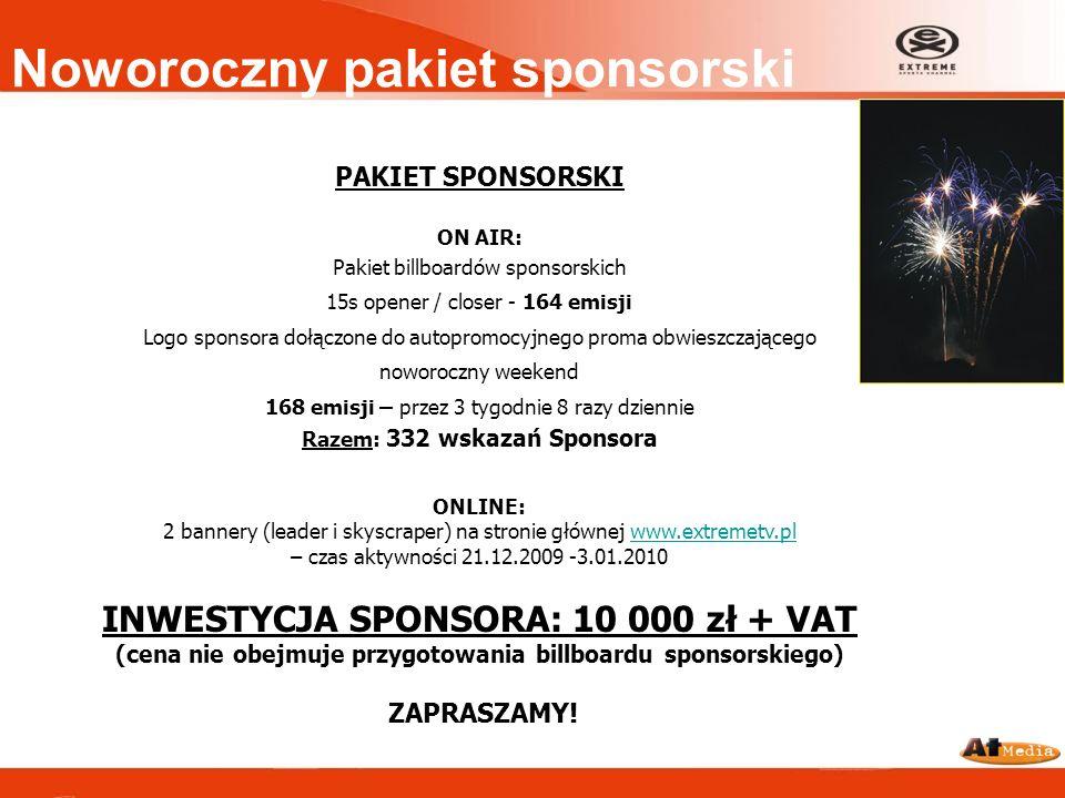 Noworoczny pakiet sponsorski PAKIET SPONSORSKI ON AIR: Pakiet billboardów sponsorskich 15s opener / closer - 164 emisji Logo sponsora dołączone do aut