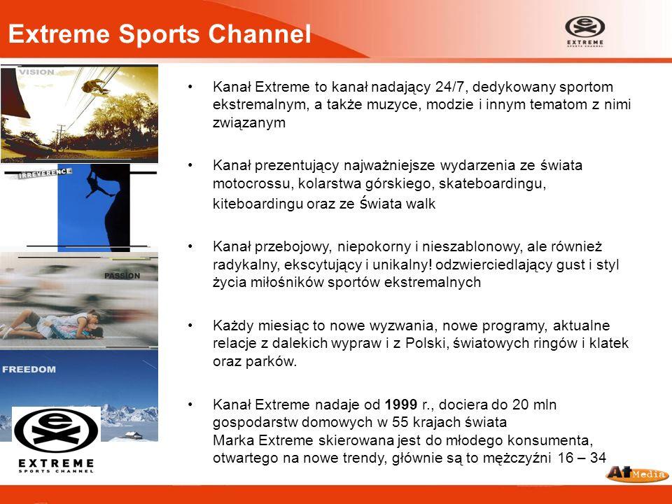 Extreme Sports Channel Kanał Extreme to kanał nadający 24/7, dedykowany sportom ekstremalnym, a także muzyce, modzie i innym tematom z nimi związanym