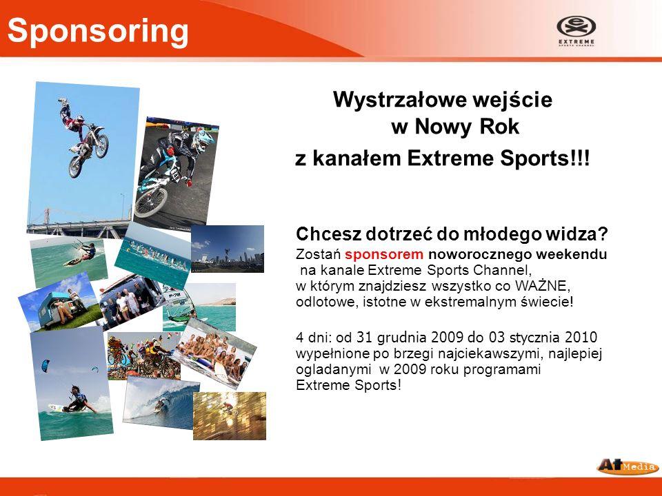Sponsoring Wystrzałowe wejście w Nowy Rok z kanałem Extreme Sports!!! Chcesz dotrzeć do młodego widza? Zostań sponsorem noworocznego weekendu na kanal