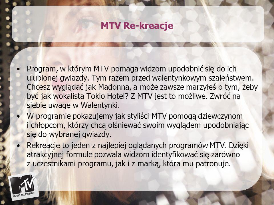 MTV Rekreacje – schemat programu Nad wyglądem i zachowaniem uczestników pracować będą specjaliści: stylista fryzur, wizażysta i stylista.