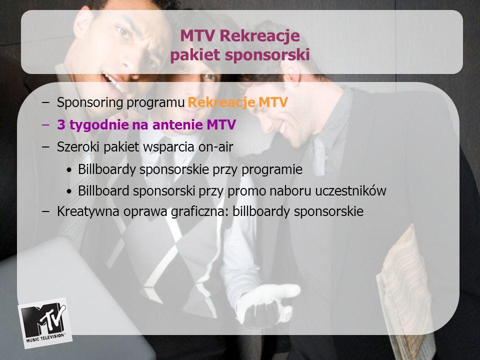 MTV Rekreacje pakiet sponsorski –Sponsoring programu Rekreacje MTV –3 tygodnie na antenie MTV –Szeroki pakiet wsparcia on-air Billboardy sponsorskie przy programie Billboard sponsorski przy promo naboru uczestników –Kreatywna oprawa graficzna: billboardy sponsorskie