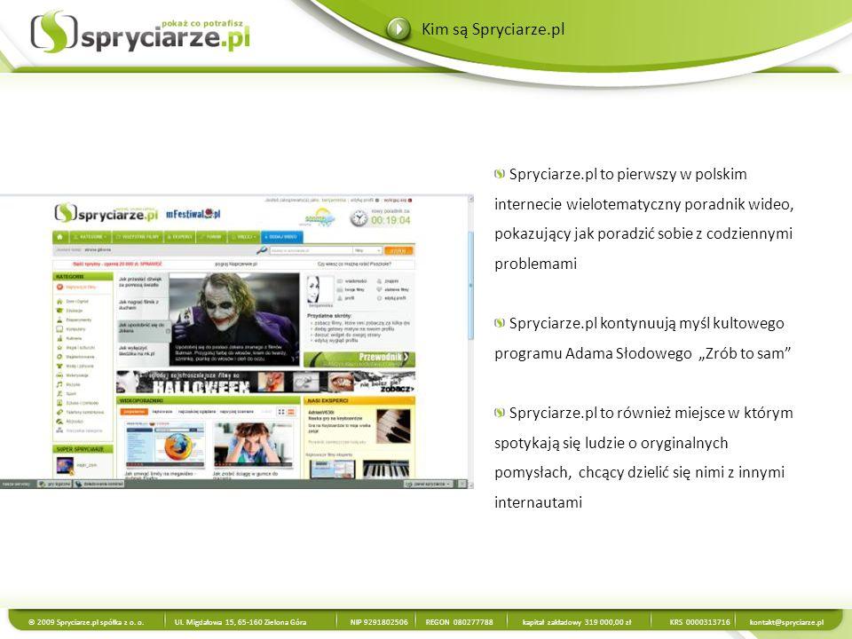 Miesięczna liczba UU – 1 159 587 Miesięczna liczba PV – 10 120 263 Liczba zarejestrowanych Użytkowników – 255 000 Codziennie przybywa nam średnio 559 zarejestrowanych Użytkowników Liczba poradników wideo na stronie – 6600 (18 nowych poradników dziennie) Średni czas spędzony na witrynie: 00:07:15 Źródło: Google Analytics, październik 2009 Spryciarze.pl w liczbach © 2009 Spryciarze.pl spółka z o.