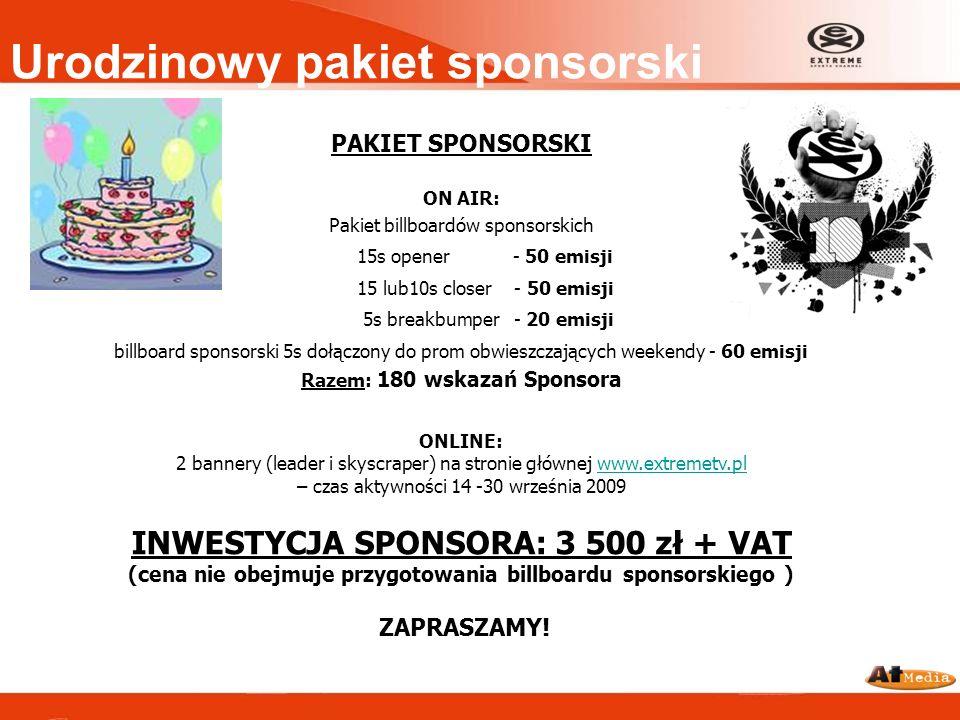 Urodzinowy pakiet sponsorski PAKIET SPONSORSKI ON AIR: Pakiet billboardów sponsorskich 15s opener - 50 emisji 15 lub10s closer - 50 emisji 5s breakbum