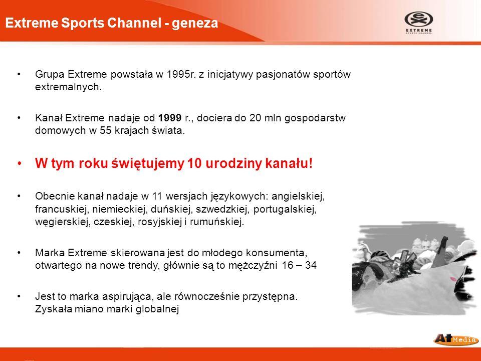 Extreme Sports Channel - geneza Grupa Extreme powstała w 1995r. z inicjatywy pasjonatów sportów extremalnych. Kanał Extreme nadaje od 1999 r., dociera