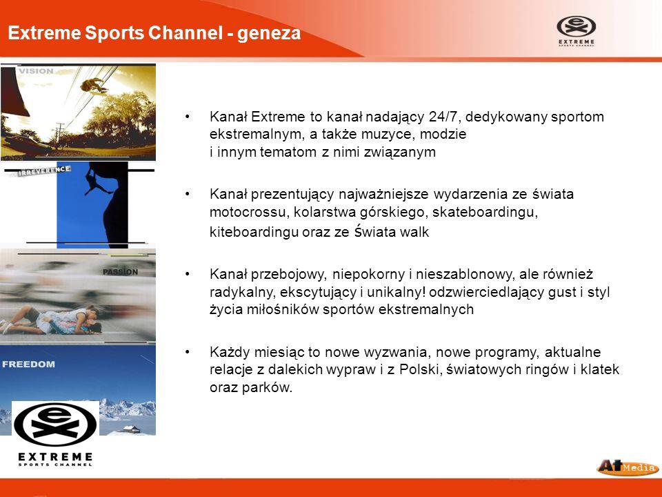 Extreme Sports Channel - geneza Kanał Extreme to kanał nadający 24/7, dedykowany sportom ekstremalnym, a także muzyce, modzie i innym tematom z nimi z