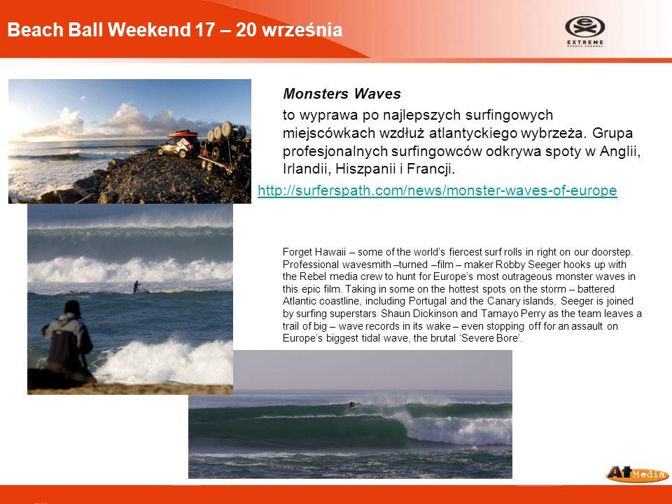 Beach Ball Weekend 17 – 20 września Monsters Waves to wyprawa po najlepszych surfingowych miejscówkach wzdłuż atlantyckiego wybrzeża. Grupa profesjona