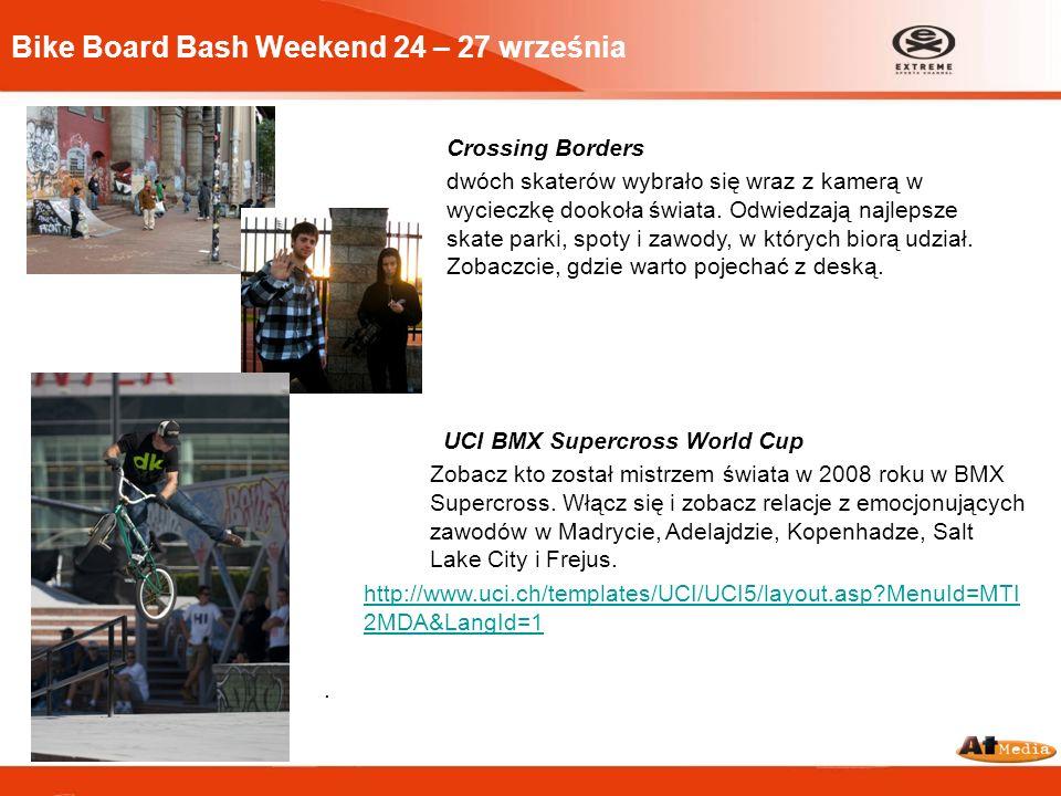 Bike Board Bash Weekend 24 – 27 września Crossing Borders dwóch skaterów wybrało się wraz z kamerą w wycieczkę dookoła świata. Odwiedzają najlepsze sk