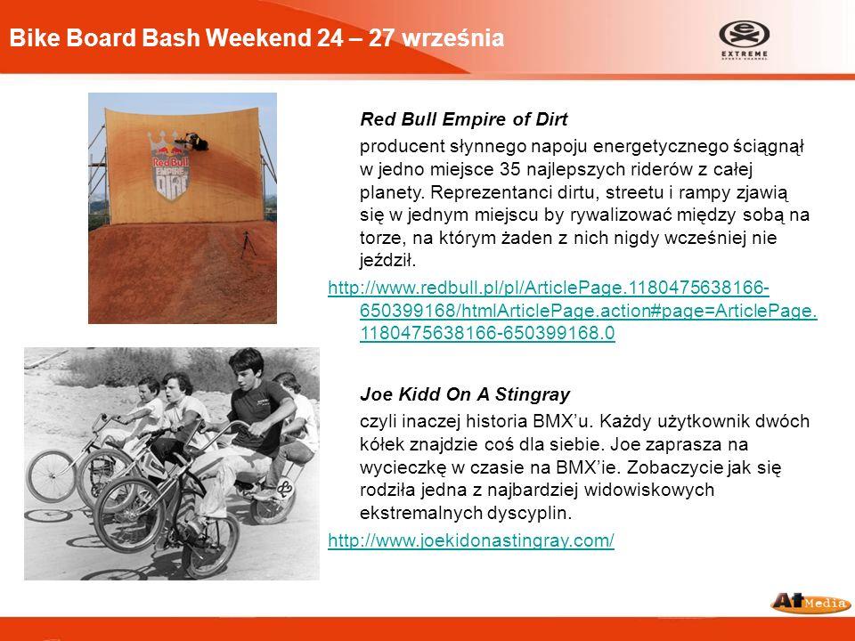 Bike Board Bash Weekend 24 – 27 września Red Bull Empire of Dirt producent słynnego napoju energetycznego ściągnął w jedno miejsce 35 najlepszych ride
