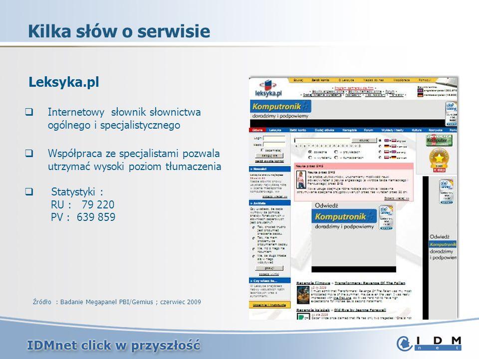 Leksyka.pl Internetowy słownik słownictwa ogólnego i specjalistycznego Współpraca ze specjalistami pozwala utrzymać wysoki poziom tłumaczenia Statysty