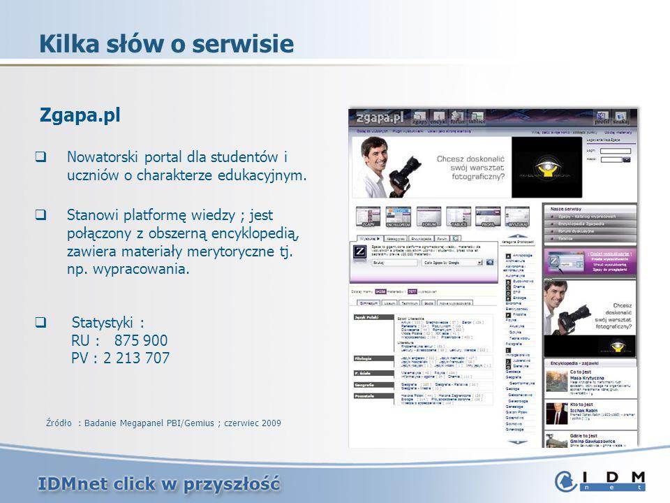 Kilka słów o serwisie Źródło : Badanie Megapanel PBI/Gemius ; czerwiec 2009 Zgapa.pl Nowatorski portal dla studentów i uczniów o charakterze edukacyjnym.