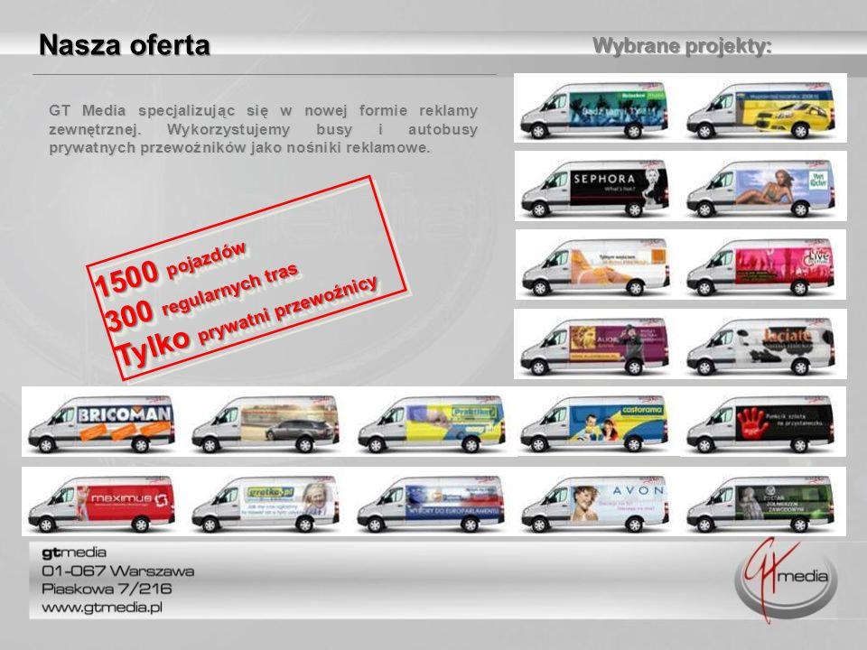 Wybrane projekty: 1500 pojazdów 300 regularnych tras Tylko prywatni przewoźnicy 1500 pojazdów 300 regularnych tras Tylko prywatni przewoźnicy Nasza of