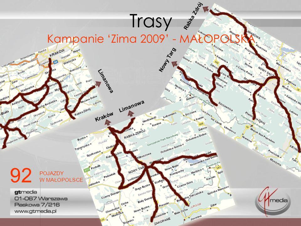 Limanowa Kraków Limanowa Nowy Targ Rabka Zdrój Trasy Kampanie Zima 2009 - MAŁOPOLSKA 2 92 POJAZDY W MAŁOPOLSCE