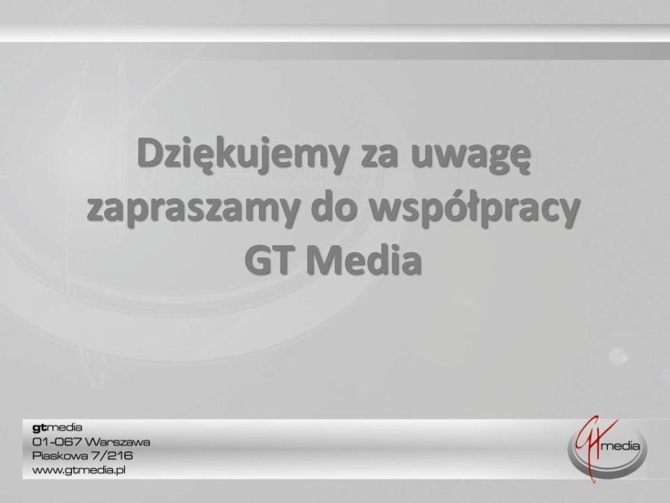 Dziękujemy za uwagę zapraszamy do współpracy GT Media