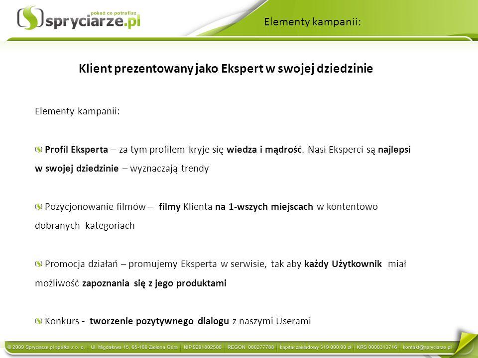 Klient prezentowany jako Ekspert w swojej dziedzinie Elementy kampanii: Profil Eksperta – za tym profilem kryje się wiedza i mądrość. Nasi Eksperci są