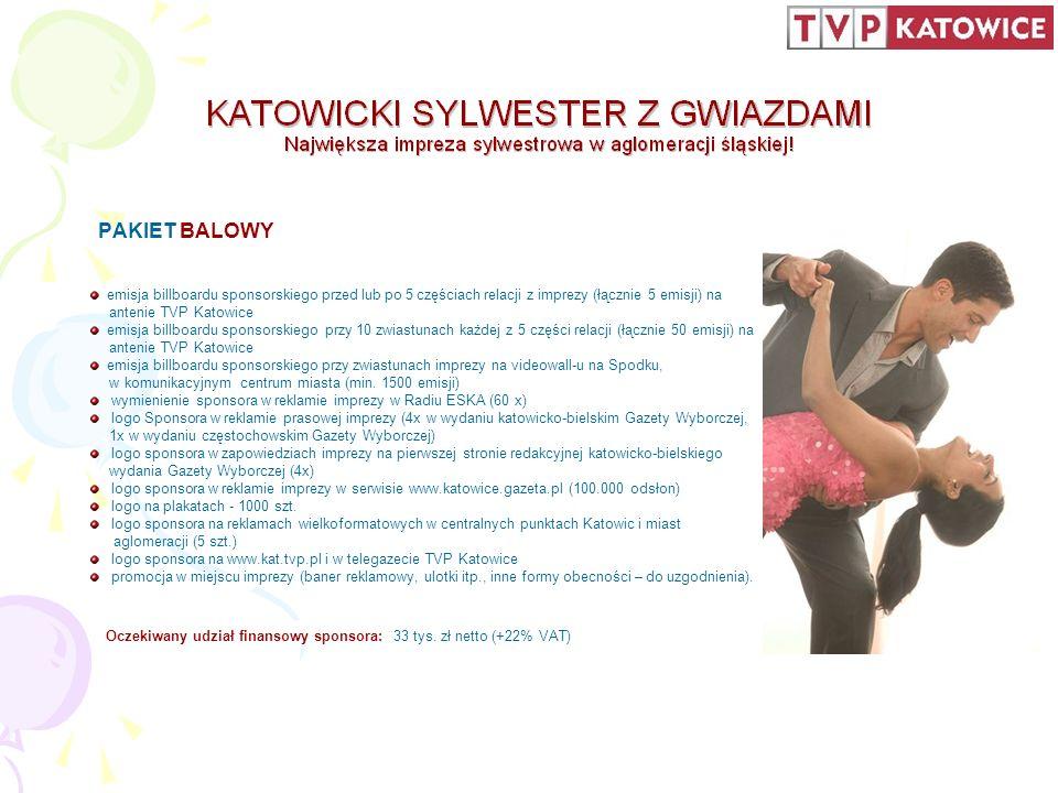 PAKIET BALOWY emisja billboardu sponsorskiego przed lub po 5 częściach relacji z imprezy (łącznie 5 emisji) na antenie TVP Katowice emisja billboardu