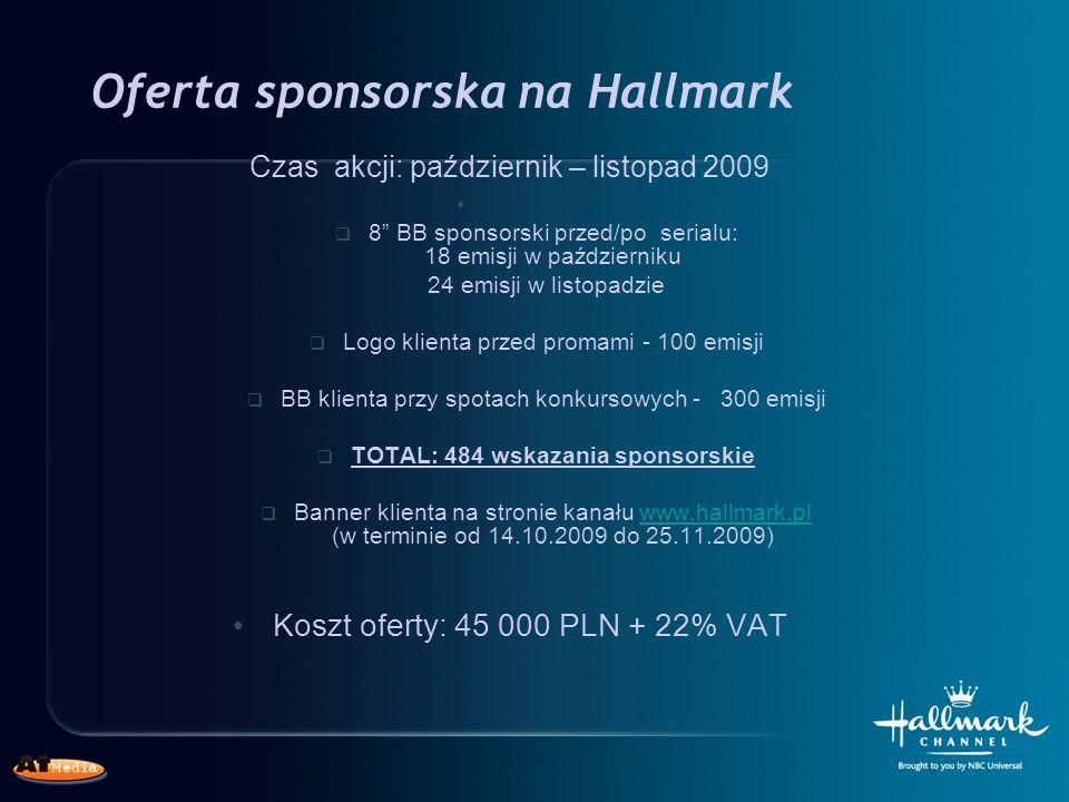 Oferta sponsorska na Hallmark Czas akcji: październik – listopad 2009 8 BB sponsorski przed/po serialu: 18 emisji w październiku 24 emisji w listopadzie Logo klienta przed promami - 100 emisji BB klienta przy spotach konkursowych - 300 emisji TOTAL: 484 wskazania sponsorskie Banner klienta na stronie kanału www.hallmark.pl (w terminie od 14.10.2009 do 25.11.2009)www.hallmark.pl Koszt oferty: 45 000 PLN + 22% VAT