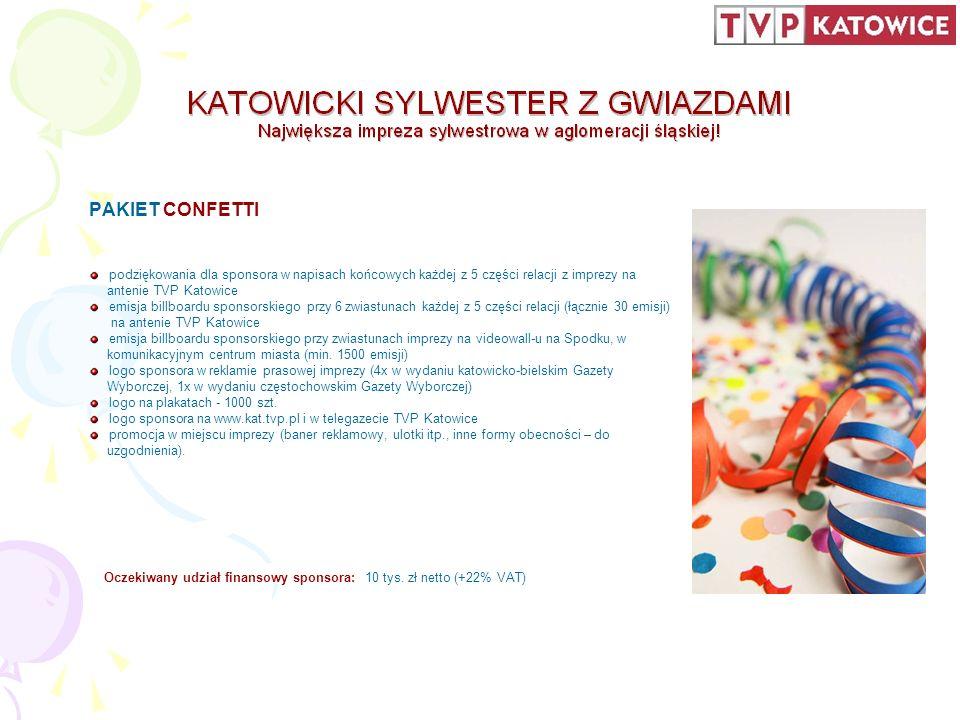 WSZELKIE DODATKOWE INFORMACJE: Biuro Reklamy TVP Katowice tel.