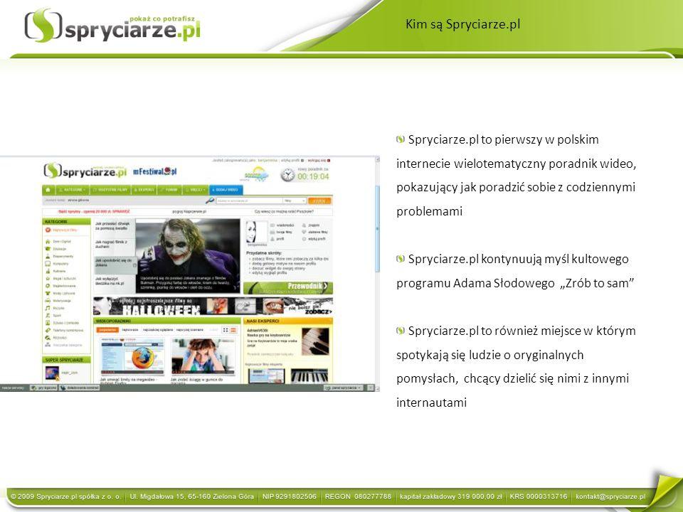 Kim są Spryciarze.pl Spryciarze.pl to pierwszy w polskim internecie wielotematyczny poradnik wideo, pokazujący jak poradzić sobie z codziennymi proble