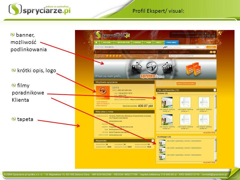 Profil Ekspert/ visual: krótki opis, logo tapeta banner, możliwość podlinkowania filmy poradnikowe Klienta