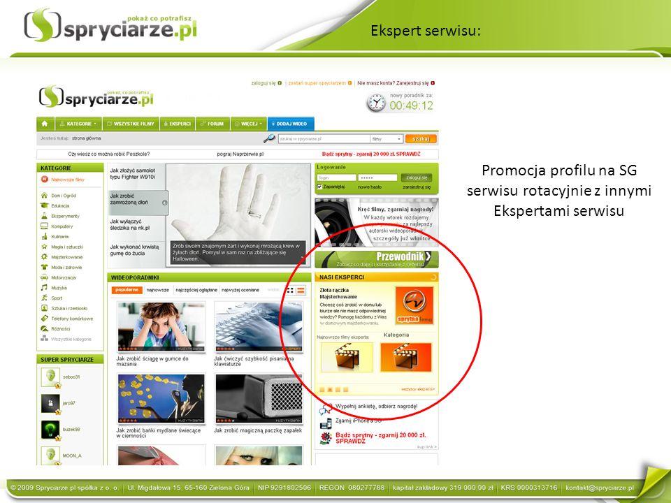 Ekspert serwisu: Promocja profilu na SG serwisu rotacyjnie z innymi Ekspertami serwisu