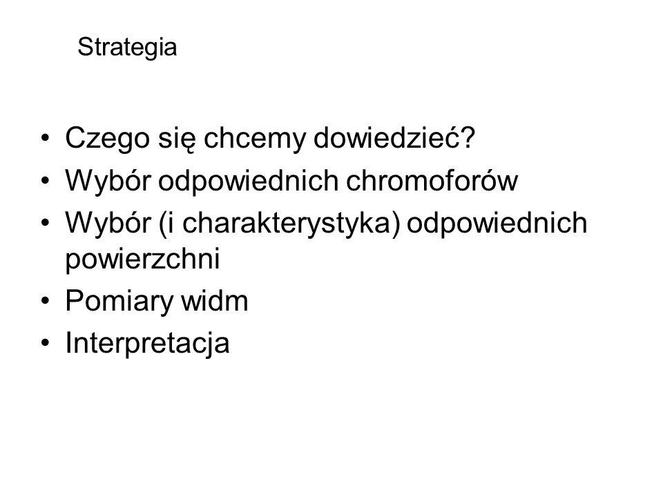 Strategia Czego się chcemy dowiedzieć? Wybór odpowiednich chromoforów Wybór (i charakterystyka) odpowiednich powierzchni Pomiary widm Interpretacja