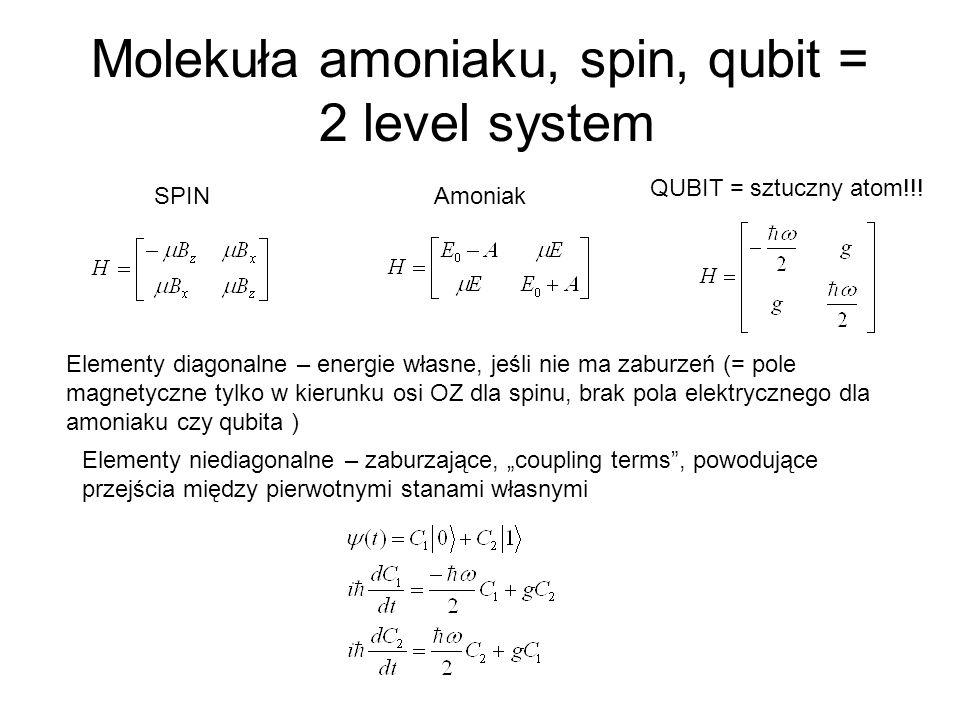 Molekuła amoniaku, spin, qubit = 2 level system SPINAmoniak QUBIT = sztuczny atom!!! Elementy diagonalne – energie własne, jeśli nie ma zaburzeń (= po