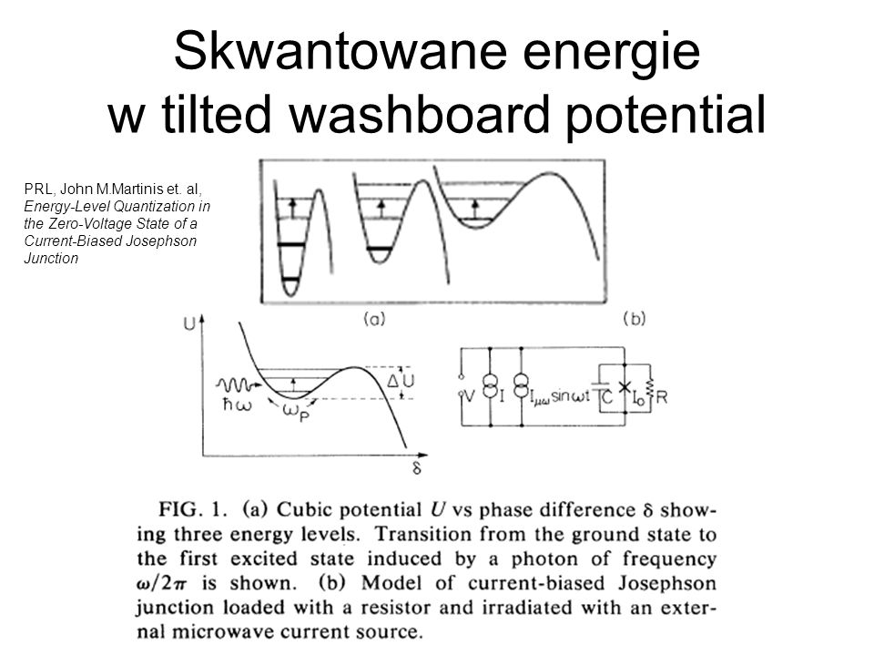 Skwantowane energie w tilted washboard potential PRL, John M.Martinis et. al, Energy-Level Quantization in the Zero-Voltage State of a Current-Biased