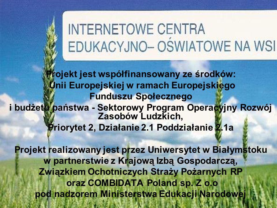 Projekt jest współfinansowany ze środków: Unii Europejskiej w ramach Europejskiego Funduszu Społecznego i budżetu państwa - Sektorowy Program Operacyj