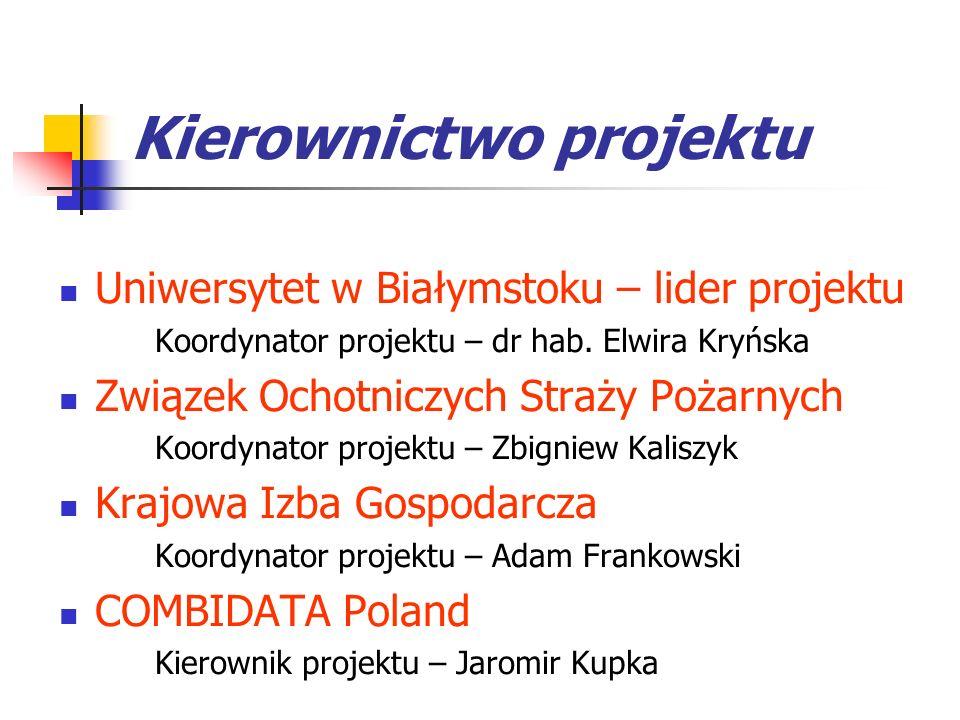 Kierownictwo projektu Uniwersytet w Białymstoku – lider projektu Koordynator projektu – dr hab. Elwira Kryńska Związek Ochotniczych Straży Pożarnych K