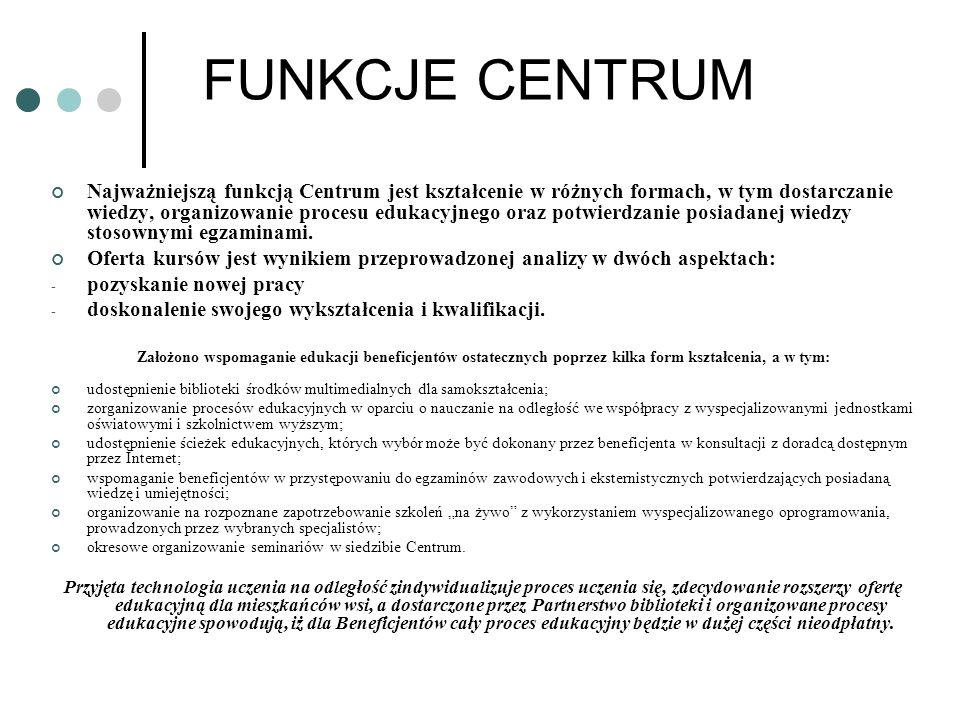 FUNKCJE CENTRUM Najważniejszą funkcją Centrum jest kształcenie w różnych formach, w tym dostarczanie wiedzy, organizowanie procesu edukacyjnego oraz p