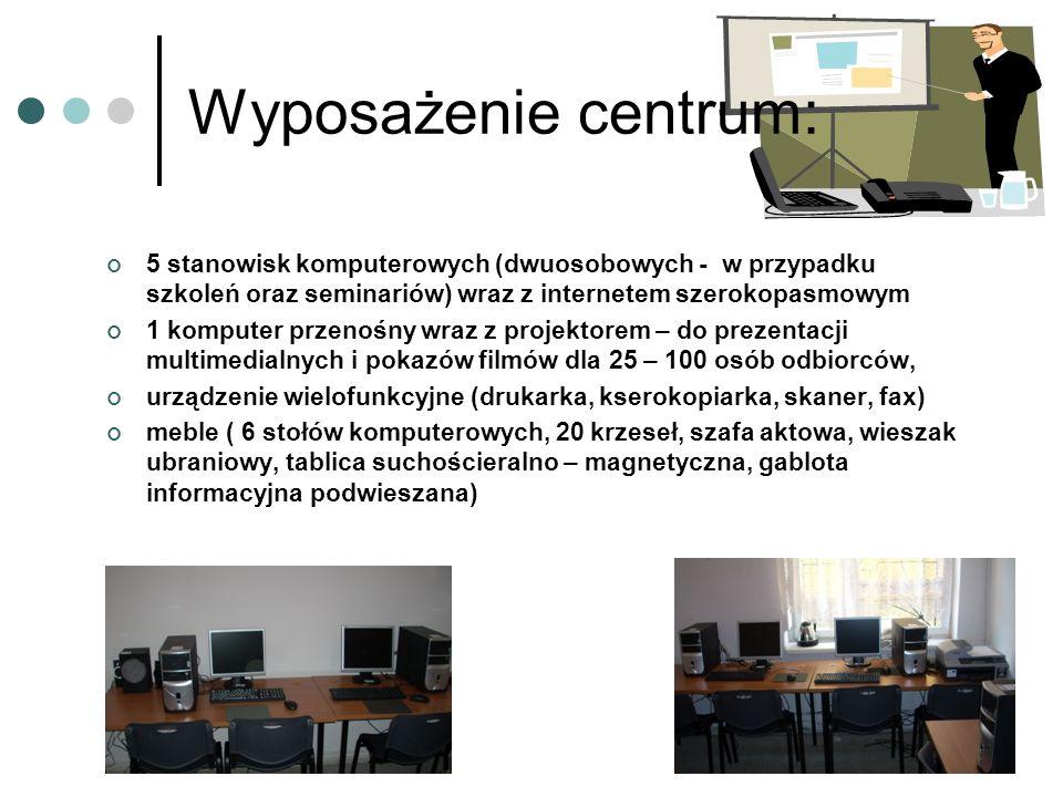 Wyposażenie centrum: 5 stanowisk komputerowych (dwuosobowych - w przypadku szkoleń oraz seminariów) wraz z internetem szerokopasmowym 1 komputer przen