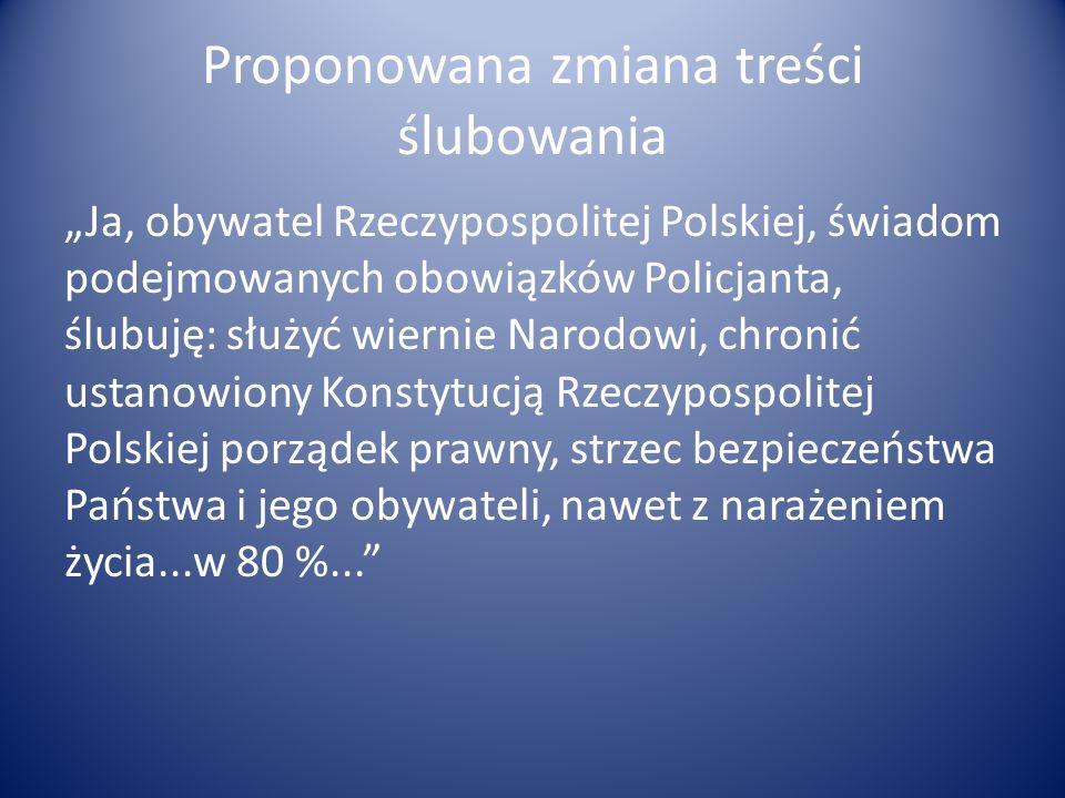 Proponowana zmiana treści ślubowania Ja, obywatel Rzeczypospolitej Polskiej, świadom podejmowanych obowiązków Policjanta, ślubuję: służyć wiernie Naro