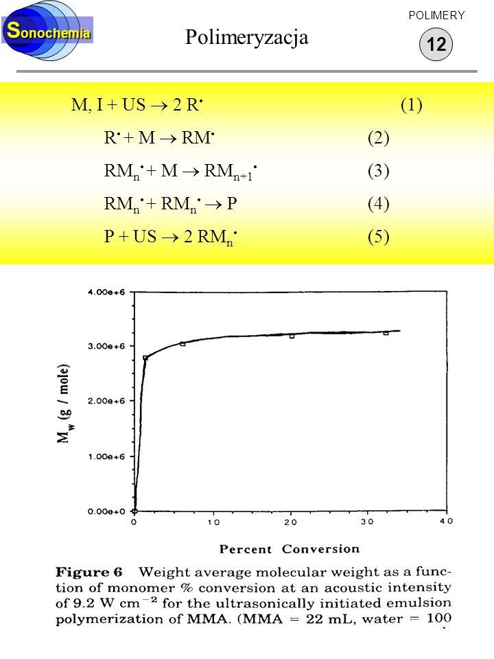 Polimeryzacja 12 S onochemia POLIMERY M, I + US 2 R (1) R + M RM (2) RM n + M RM n+1 (3) RM n + RM n P(4) P + US 2 RM n (5)