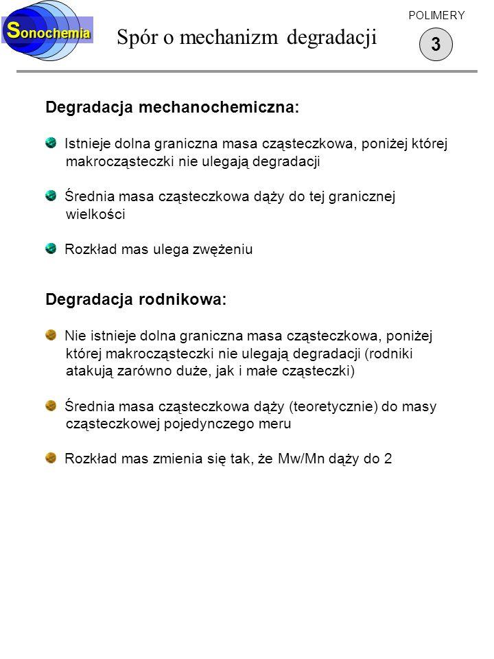Spór o mechanizm degradacji 3 S onochemia POLIMERY Degradacja mechanochemiczna: Istnieje dolna graniczna masa cząsteczkowa, poniżej której makrocząste