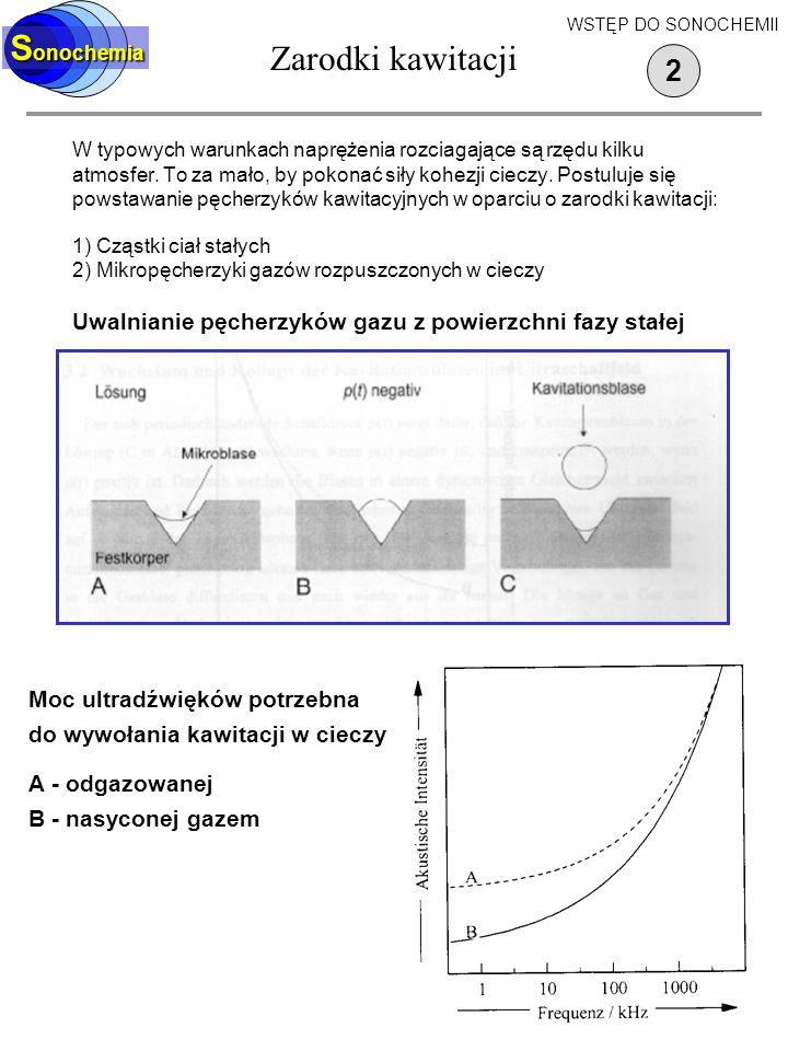 Zarodki kawitacji W typowych warunkach naprężenia rozciagające są rzędu kilku atmosfer.